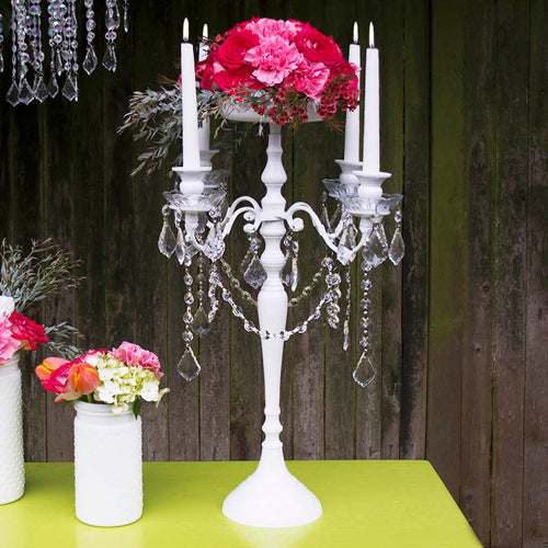 Candelabra with Hanging Acrylic Crystals, Candle Holder, 24 in., White