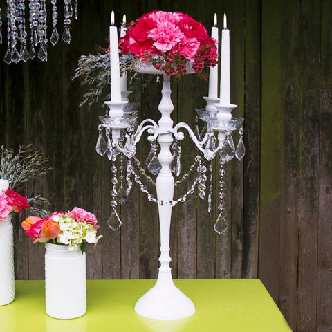 Candelabra Candle Holder, Metal Centerpiece, 15 in. tall, Silver