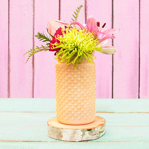 Vintage Hobnail, Antique Vase, Glass Jar, 4 x 5.75 Inches, Pastel Yellow