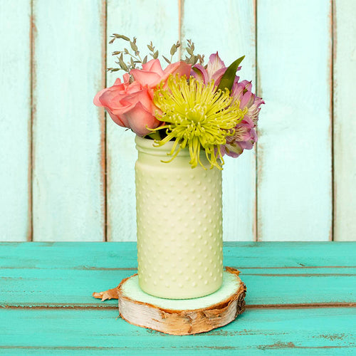 Vintage Hobnail, Antique Vase, Glass Jar, 4 x 8 Inches, Light Green