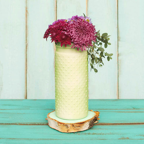 Vintage Hobnail, Antique Vase, Glass Jar, 4 x 10 Inches, Pastel Light Green