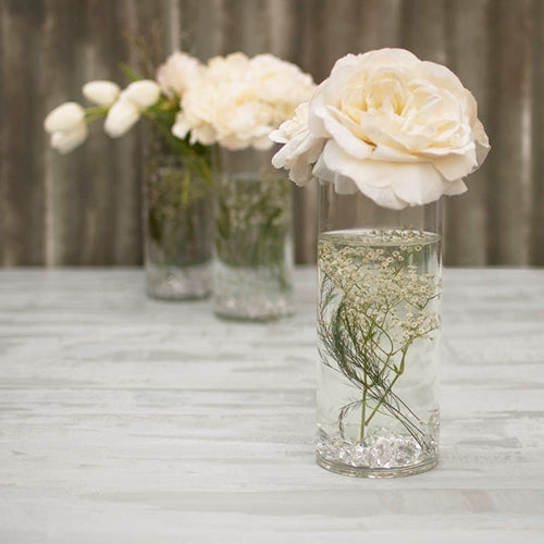 Round Glass Vase, Clear Cylinder, 4 x 10 inches