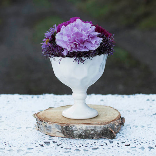 Milk Glass Bowl with Pedestal Base, Heirloom Collection, 4.25 in. tall, White