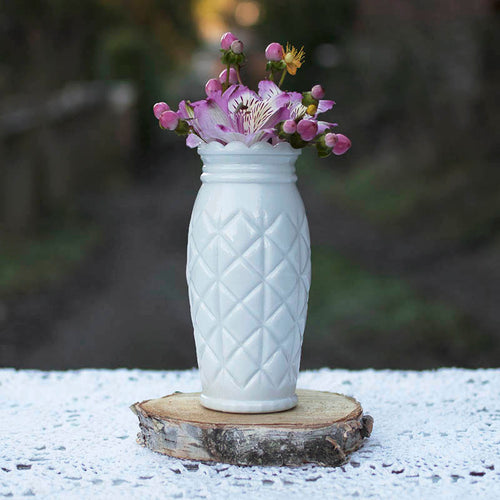 Antique Milk Glass Vase, Heirloom Collection, 6.75 inches tall, White