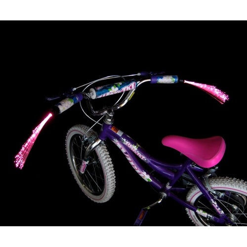 Bicycle Handlebar Light Streamers, Fiberoptic LEDs, Black Handle, Pink