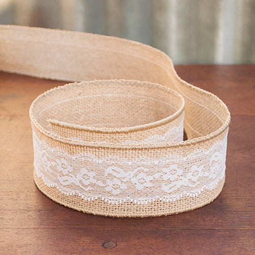 Burlap Ribbon, Wired with Ivory Lace Overlay, 2.5 in x 10 yd, Natural
