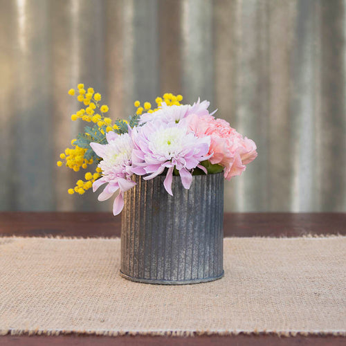 "Rustic Tin Vase, Corrugated Sides, 3.25 x 3.25"", Galvanized Metal"