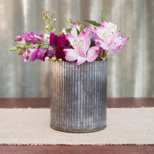"Rustic Tin Vase, Corrugated Sides, 4.5x5.5"", Galvanized Metal"