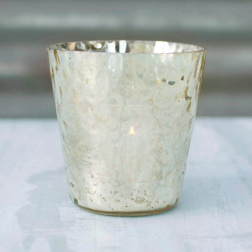 Mercury Glass Votive Candle Holder, 4 in. tall, Hammered, Gold
