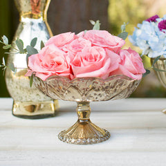 Mercury Glass Compote with Pedestal Base, 5.75 x 7.5 in. Oval, Gold