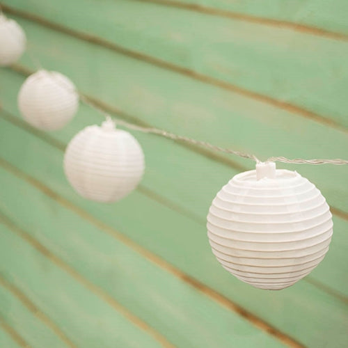 LED String Lights, 3 inch Round Outdoor Lanterns, Solar, White