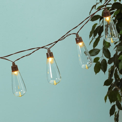 Globe String Lights, Solar Powered Edison LEDs, 6 Ft, Timer, Warm White