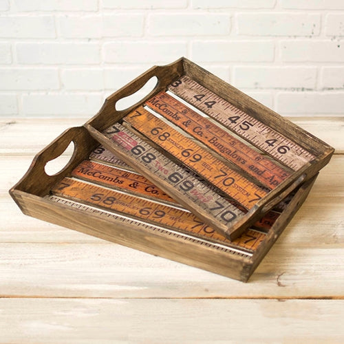 Rustic Wood Ruler Serving Trays, 9.75x15.75 & 17.75x11.5 in., Set of 2