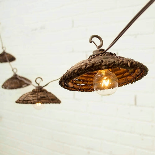 Cafe String Lights, Globe Bulbs, Woven Shades, 12 Ft, Outdoor, Plug In
