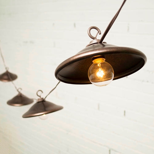 Cafe String Lights, Globe Bulbs, Bronze Shades, 12 Ft, Outdoor, Plug In