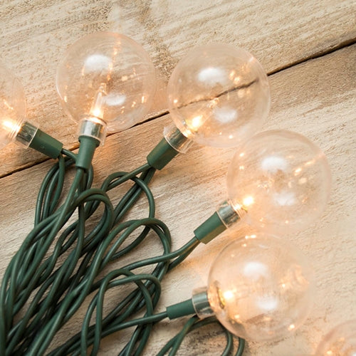 Globe String Lights, Acrylic, 11 Ft Green Wire, Outdoor, Warm White