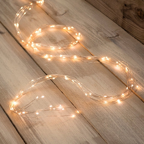 Fairy Lights, LED, 20 Feet, Silver Wire, Battery, Timer, Warm White