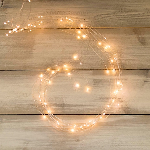 Mini-Globe String Lights, 17.5 Foot White Wire, White