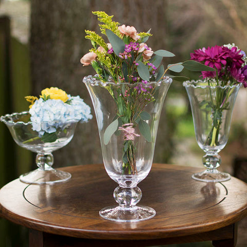Mercury Glass Candle Holder w/ Pedestal, Compote , 4.5in, Silver, 6 Pk