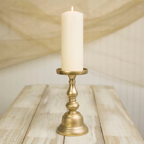 Pillar Candle Holder, 9.25 inches tall, Metal, Gold