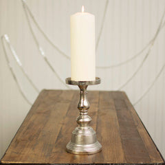 Pillar Candle Holder, 9.25 inches tall, Metal, Silver