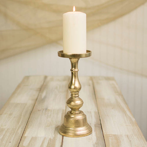 Pillar Candle Holder, 11.25 inches tall, Metal, Gold