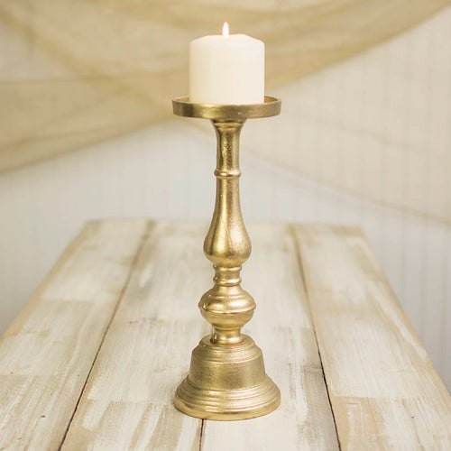 Pillar Candle Holder, 13.25 inches tall, Metal, Gold