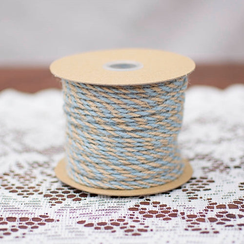 Bakers Twine, Twisted Jute Yarn, 50 Yards, Natural & Light Blue