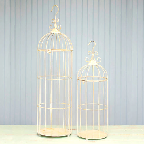 Wire Bird Cages, Hinged Top, 26 in. & 35 in. tall, White, Set of 2