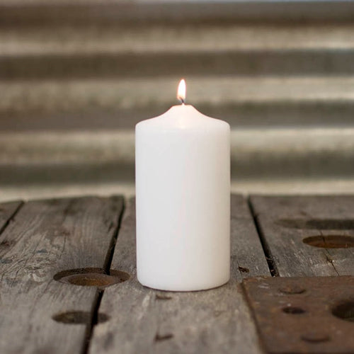 Pillar Candle, 3 x 6 inches, Patrician, Round, Unscented Wax, White