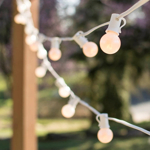 Globe String Lights, 1.25 in. Bulbs, 50 Ft White Wire, E12, C7, Pearl