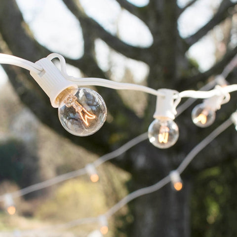 Globe String Lights, 2 in. Bulbs, 100 ft. White Wire, Outdoor, Pearl -
