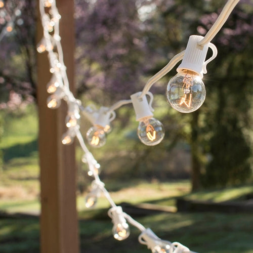 Globe String Lights, 1.25 in. Bulbs, 50 Ft White Wire, E12, C7, Clear