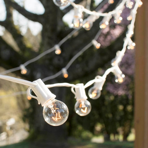 Globe String Lights, 2 Inch E12 Bulbs, 50 Feet White Wire C7 Strand, Pearl White