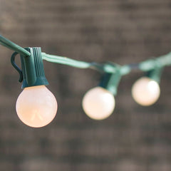 Globe String Lights, 1.25 in. Bulbs, 25 Ft Green Wire, E12, C7, Pearl