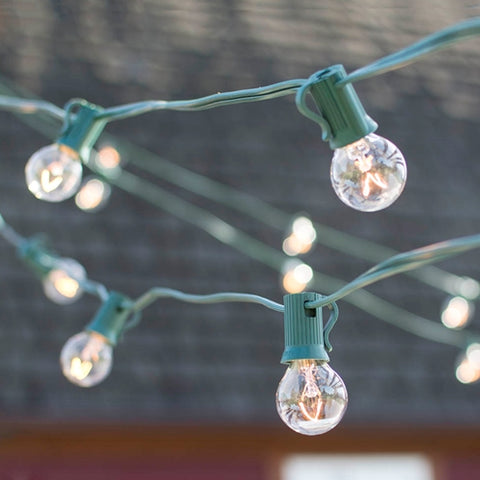 Globe String Lights, 2 Inch E17 Bulbs, 50 Ft Green Wire C9 Strand, Clear