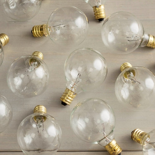 Replacement Globe Light Bulb, G40, 5W/130V, E12 Base, Clear, 25 Pack