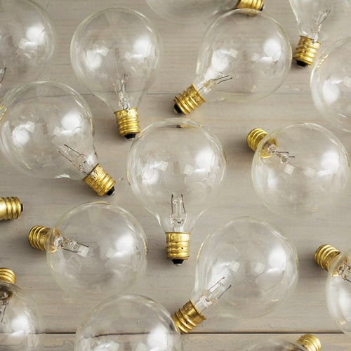 Replacement Globe Light Bulb, G50, 7W/130V, E12 Base, Clear, 25 Pack