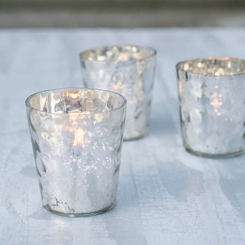 Mercury Glass Tea Light Candle Holder, 3 in., Hammered, Silver, 6 Pack