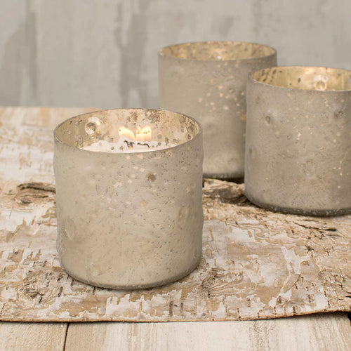 Mercury Glass Votive Candle Holder, 3 x 3 inches, Matte Silver, 6 Pk