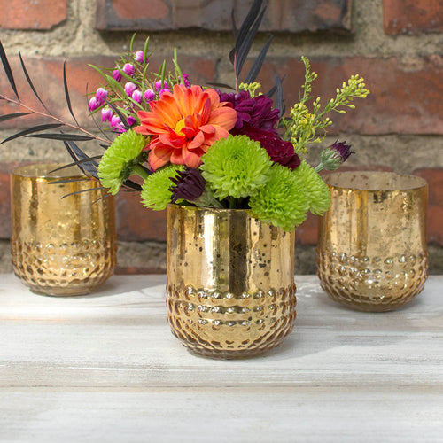 Mercury Glass Candle Holder, 3 in. tall x 2.5 in. diameter, Gold, 6 pk