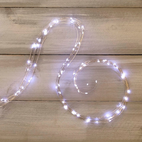 LED Fairy Lights, Timer, Silver Wire, 20 Foot, Blue