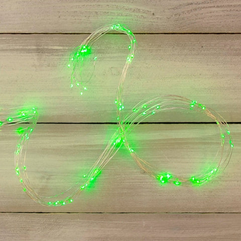Mini String Lights, Outdoor, 33 Ft Green Wire, Clear White