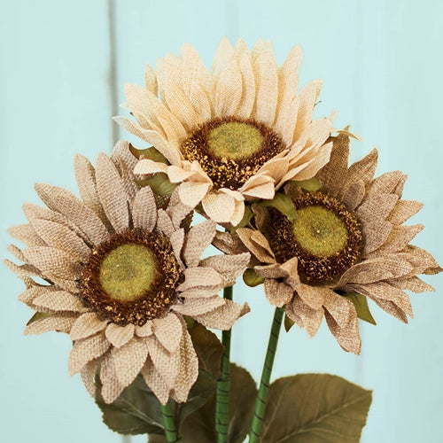 Burlap Flowers, Sunflower Stem Wedding Bouquet, 24 in, 12 pc, Assorted