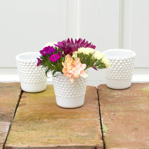 Hobnail Candle Holder, Tea Light, 2.5 in. tall, Milk Glass, White, 6Pk