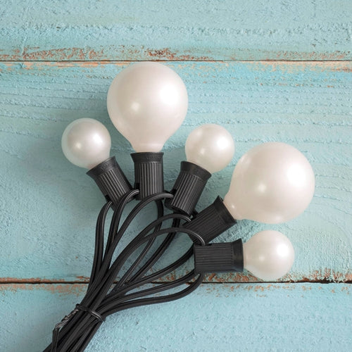 Duet Globe String Lights, G30 & G50 Bulbs, 50 Ft Black Wire, C7, Pearl