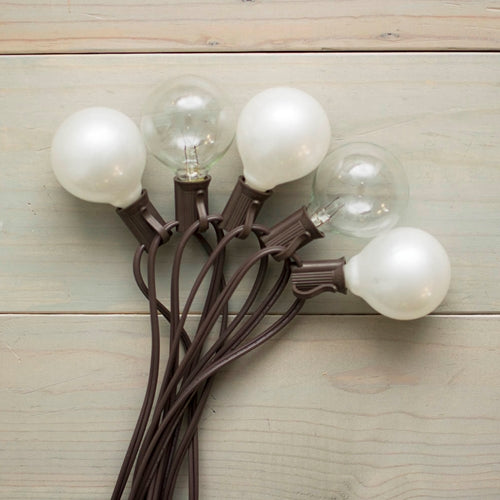 Duet Globe String Lights, 50 Ft C7 Brown Wire, G50 Bulb, Pearl & Clear