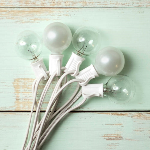 Duet Globe String Lights, 50 Ft C7 White Wire, G40 Bulb, Pearl & Clear