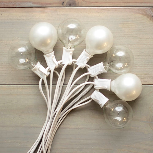 Duet Globe String Lights, 100Ft C7 White Wire, G50 Bulb, Pearl & Clear