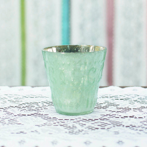 Mercury Glass Votive Candle Holder, 3.25 in. tall, Mint Green